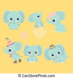 baby, schattig, set., spotprent, elefant