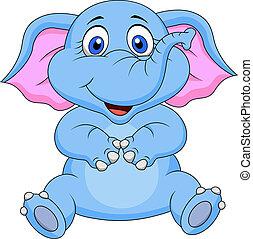 baby, schattig, spotprent, elefant