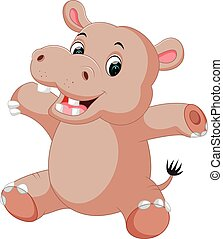 baby, schattig, spotprent, nijlpaard