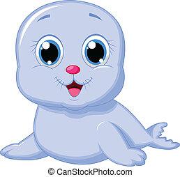 baby, schattig, spotprent, zeehondje