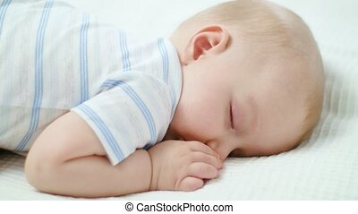 baby, schattig, thuis, bed, slapende
