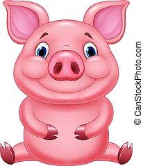 baby, schattig, varken, spotprent, zittende