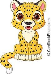baby, schattig, vrijstaand, cheetah, zittende