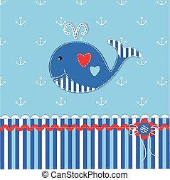 baby, schattig, walvis, achtergrond