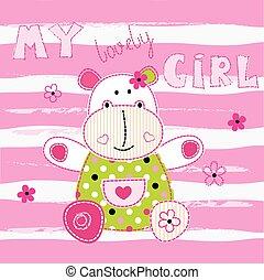 baby, schattig, weinig; niet zo(veel), achtergrond, nijlpaard