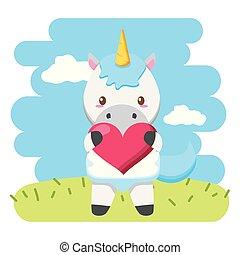 baby, schattig, weinig; niet zo(veel), eenhoorn, hart
