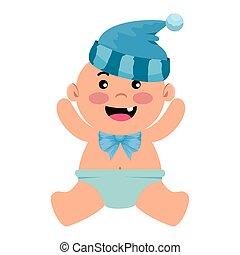 baby, schattig, weinig; niet zo(veel), hoed jongen