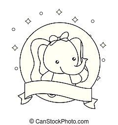baby, schattig, weinig; niet zo(veel), lint, elefant