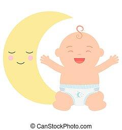 baby, schattig, weinig; niet zo(veel), maan, jongen