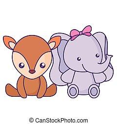 baby, schattig, weinig; niet zo(veel), rendier, elefant