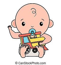 baby, schattig, weinig; niet zo(veel), trein, jongen