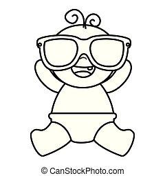 baby, schattig, weinig; niet zo(veel), zonnebrillen, jongen