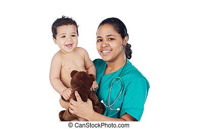 baby, schattige, armen, haar, arts