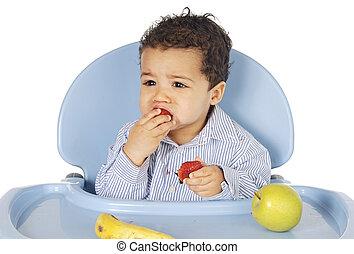 baby, schattige, fruit, eten