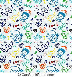 baby school vector seamless pattern