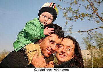 baby, schouders, 3, gezin