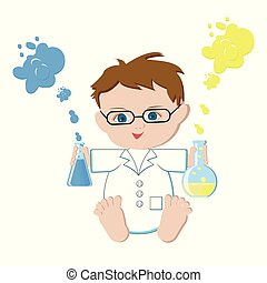 Baby scientist holding flasks with chemical solutions on white background.