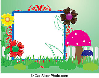 Baby scrapbook(10) for the fence, flowers and mushrooms