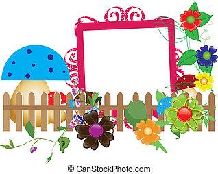 baby, scrapbook(6), voor, de, omheining, bloemen, en, paddestoelen