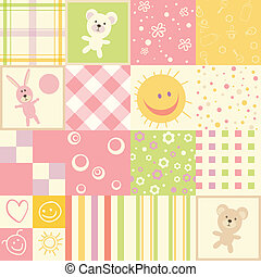 Baby seamless.Set of child patterns