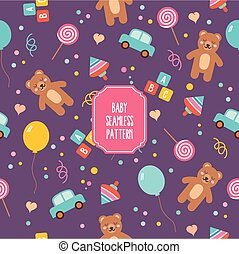 Baby seamless pattern with cute cartoon toys. Teddy bear, balloon, bricks, candy, whirligig and car. For wallpapers, backgrounds, surface textures.