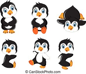 baby, set, het poseren, spotprent, penguin
