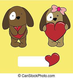 baby, set, liefde, doggy, spotprent