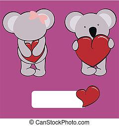 baby, set, liefde, koala, spotprent