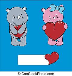 baby, set, liefde, spotprent, neushoorn