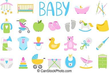 baby, set, spotprent, pictogram
