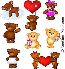 baby, set, verzameling, beren, spotprent