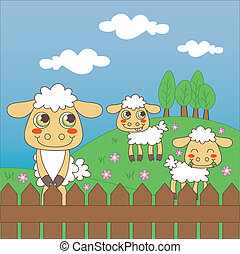 Baby Sheep Grazing - Three little cute sheep grazing on the...