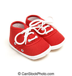 Baby Shoes - An isolated pair of red baby shoes for the ...