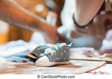 Baby shoes for a two girls summer outdoor