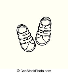 Baby shoes hand drawn outline doodle icon.