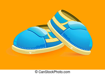 Baby Shoes - illustration of pair of baby shoes on bright...