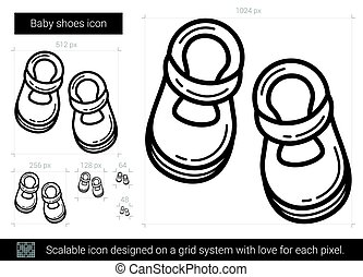Baby shoes line icon.