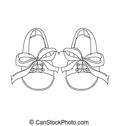 Baby shoes - one line drawing. Vector illustration continuous line drawing.