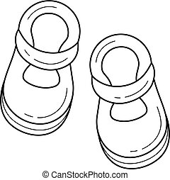 Baby shoes vector line icon.