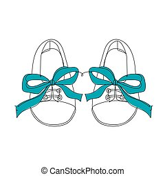 Baby shoes with blue ribbon - one line drawing. Vector illustration continuous line drawing