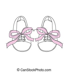 Baby shoes with pink ribbon - one line drawing. Vector illustration continuous line drawing.