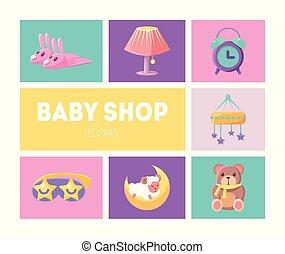 Baby Shop Icons Set, Cute Goods for Babies Design Elements Vector Illustration