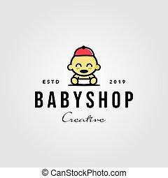 baby shop toddler babies hat logo vector hipster vintage designs