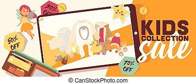 Baby shop vector shopping sale of cartoon kids toys games newborn child clothes bodysuit hat for children backdrop illustration background