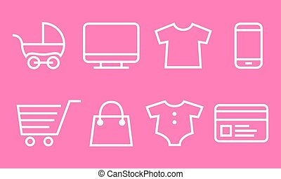 Baby Shopping web icons set