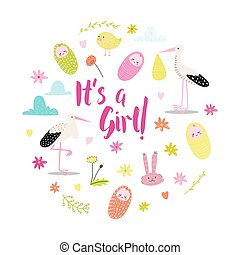 Baby Shower Announcement Card. Newborn Child Birthday Party Invitation. Its a Girl Childish Doodle with Stork and Bunny. Vector illustration