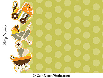 baby shower announcement card with strollers