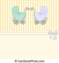 Baby shower announcement twins, vintage baby stroller invitation or card on the birthday, vector background illustration