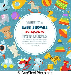 Baby shower, born celebration vector background or invitation card with kids toys