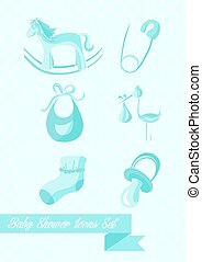 Baby shower boy icons set design